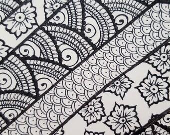 Black ink drawing henna mehndi original A028