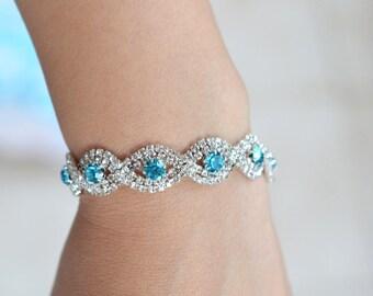 Blue Crystal Bracelet, Blue Bridal Bracelet, Crystal Wedding Bracelet, Blue Wedding Jewelry, Crystal Wedding Bracelet