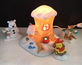 "Winnie the Pooh ""Mr. Sanderz"" Nightlight, 100 acre pond and Pooh, Piglet and Tigger figurines"