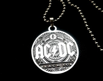ACDC Necklace Black Ice 925 Silver Plated Free Shipping