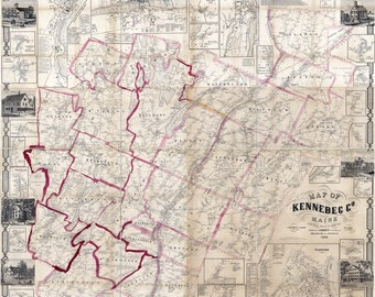 1856 Map of Kennebec County Maine  Genealogy