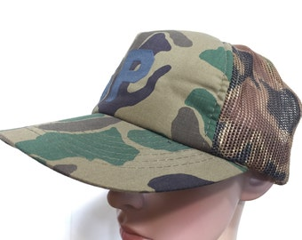 80's camouflage mesh trucker cap snapback