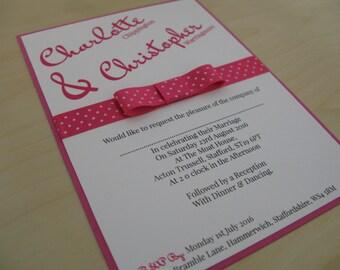 Calligraphy Polka Wedding Invitation