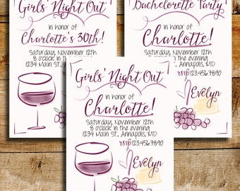 30th Birthday Girls' Night Out Invitation | Bachelorette Party Invitation | Wine Birthday Party | Wine Girls' Night Out