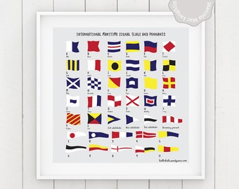 "Nautical Flags PRINTABLE POSTER- International Maritime Signals and Flags 12x12"" Pdf- Instant download Nautical ABC square nautical wall art"