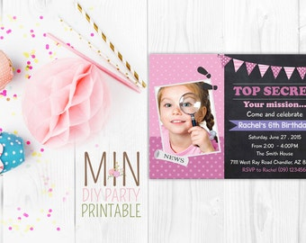 Secret Agent Photo Invitation,Secret Agent Invitation,Spy Party Invitation, Secret Agent Detective , Top Secret Spy Invitation, spy party