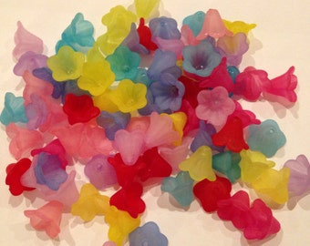 Wholesale, set of 80, acrylic frosted flower beads, UK Seller, Posted Next Working Day