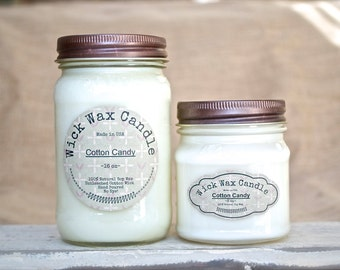 Cotton Candy Soy Candle - Scented Soy Wax Candle in 8 oz - 16 oz  Mason Jar
