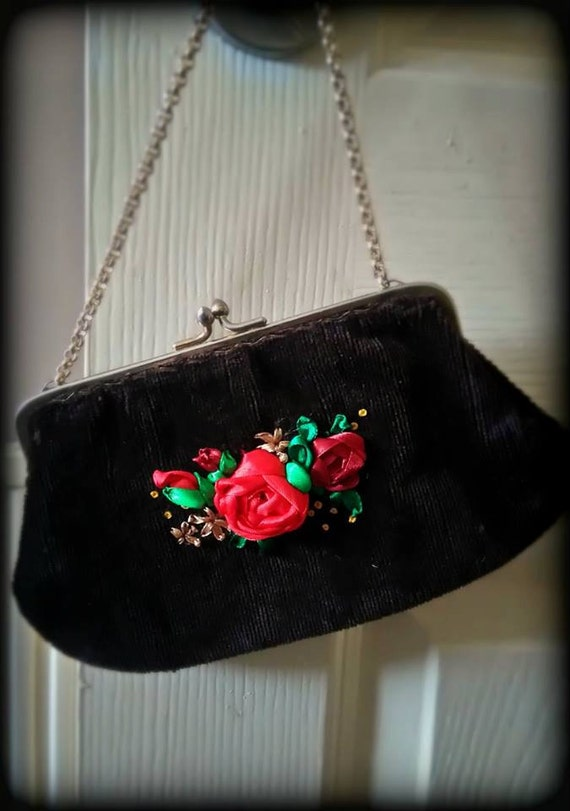 Small handbag purse with ribbon embroidery roses