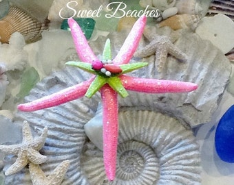 Neon pink and green starfish Beach Ocean Nautical Wedding Decor