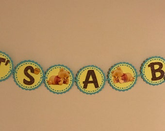 Winnie the Pooh Baby Shower Banner, Pooh Baby Shower Banner, its a boy ,blue and yellow, boy or girl