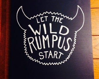 "Wild Things ""Rumpus"" Hand Painted Wooden Sign"