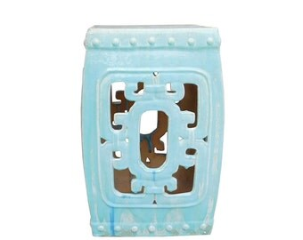 Chinese Turquoise Blue Square Ru Yi Pattern Clay Ceramic Garden Stool cs1644E