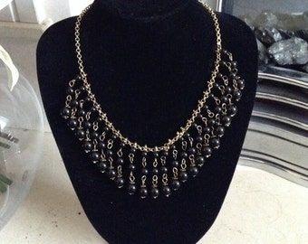 MASSIVE REDUCTIONS Vintage Gold Tone Black Onyx Bib Necklace