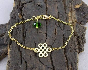 Celtic knot gold love knot with pearl bracelet