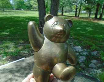 Brass Teddy Bear wall-hanger - key holder - kid's hanger - 7 by 5 inches
