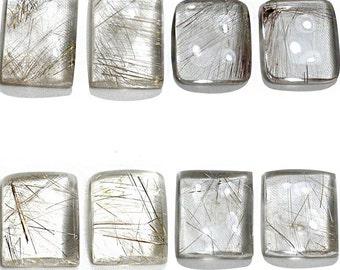 Rectangular Rutile Quartz Loose Gemstones Pair, Rutilated Quartz Loose Gemstones Pair