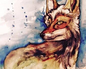 Watercolor & Pen Fox Print
