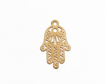 Gold Hamsa hand filigree charm 15x10mm - 3 pieces