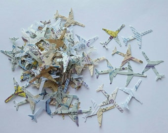 Real Pilot Chart Airplane Confetti! 100 pc