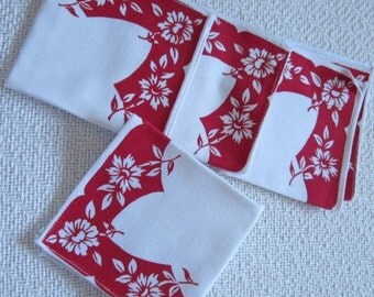 Vintage Luncheon Cotton Napkins Bright White and Bright Raspberry Pink