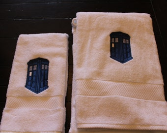 Doctor Who Towel Set -- Large Towel and Hand Towel
