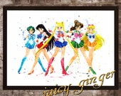 Sailor Moon  watercolor poster, digital poster, Art Print, instant download, Watercolor Print, Home Decor.