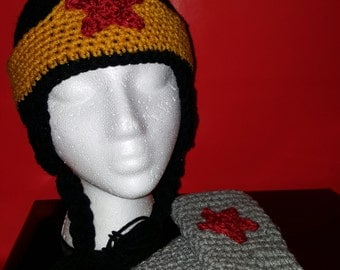 crochet wonder woman inspired  hat and fingerless gloves
