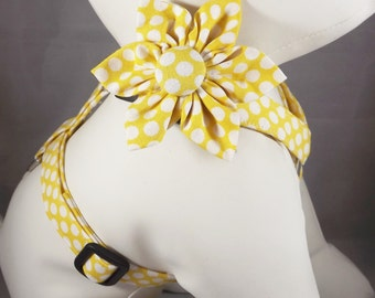 Yellow Dog Harness, Cat Harness, Step in Harness, polka dot adjustable harness, Pick Size and fabric, harness flower or bow tie included