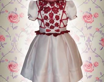 Girls Red Lace Dress, Girls Pink Dress, Girls Holiday Dress, Girls Lace Dress, Girls 4T Dress, Matching Sisters Dress,  Pupolino.