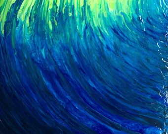 Abstract Blue Green Wave