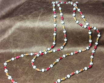 Vintage white glass and wood bead necklace