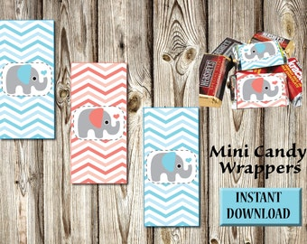 Baby Shower-Birthday-Mini Candy Wrappers-Chocolate-Instant Download-DIY-Party Favors-Candy Buffet-Blue Coral and Gray Elephant