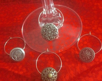 Vintage Button Wine Glass Charms