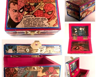 Upcycled Trinket Box featuring Spider-Man