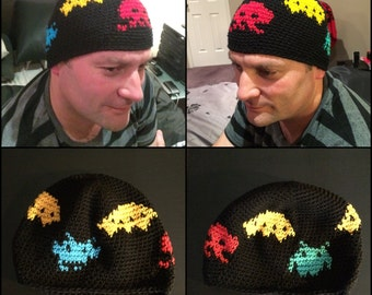 Space Invaders themed beanie