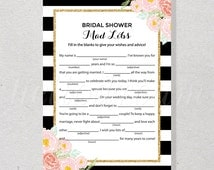 Bridal Shower Mad Libs, Black and White Stripes Bridal Advice Card, Gold Wedding Party - SKUHDG12