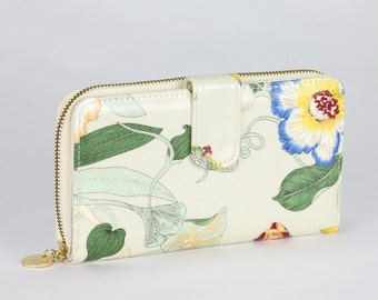 Womens Clutch wallet- Cream Floral Orchid Print print- Oilcloth waterproof laminated cotton- Ladies Snap Bifold zip phone coin purse