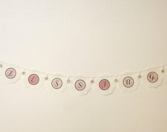 Handmade banner. Elegant banner. Chic banner. Baby shower banner. Wedding banner.