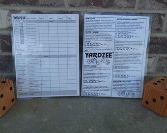 Laminated Yardzee Score Card with Rules on back