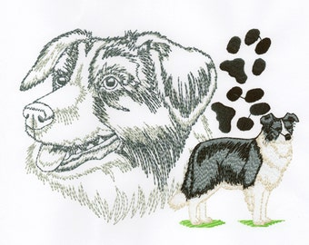 BORDER COLLIE PORTRAIT - Machine Embroidery Design - dog pet