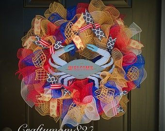 nautical wreath, crab wreath, beach wreath, summer wreath, Red,White and Blue wreath, burlap wreath, crabby wreath, summer wreath,