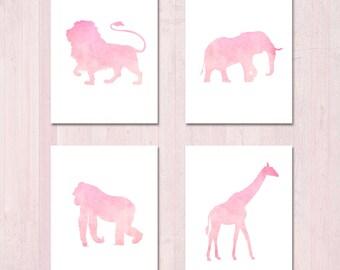 Girls Playroom - Nursery Wall Art - Printable Nursery - Baby Girl Nursery - Nursery Decor - Girls Room Decor - Playroom Decor - Pink Animals