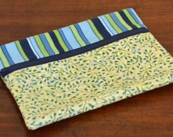 Blue Stripe mini Zipper bag, Clutch