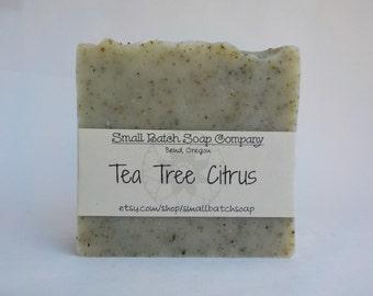 Tea Tree Citrus Bar, Cold Process Soap, All Natural Soap, Vegan Soap, Handmade Soap, Tea Tree, Citrus