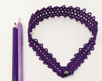 Choker necklace / choker / purple / bright color / jewelry / gift / hand crochet  / Yourknitshop / classic