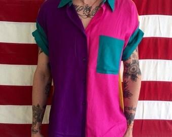 1980s medium vintage rayon shirt
