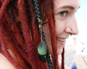 """Forest woman"" Dreadbead Dreadlock Rasta Dreadlock jewelry jewelry gemstone and green feathers bronze wire"