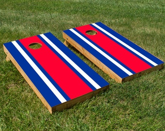 Classic Red, White and Blue Stripe Cornhole Board Decals