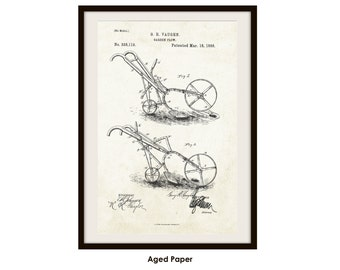 Garden Plow Patent Printed on Poster Paper (Not Framed)